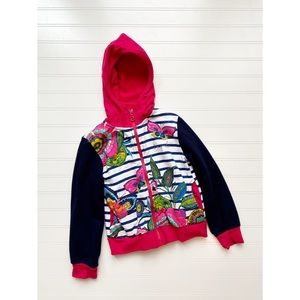 Desigual Girls 5/6 Butterfly Floral Zip Hooded